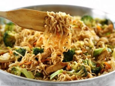 Skip take out and make these easy and addictive Chicken Yakisoba noodles that are full of chicken and vegetables, and drenched in a sweet and tangy sauce! Budgetbytes.com