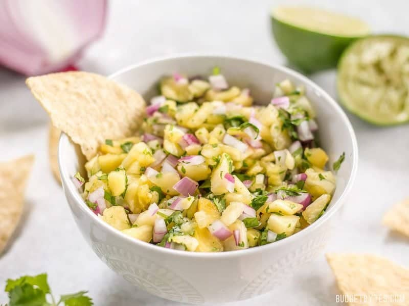 This easy pineapple salsa is fresh, vibrant, and perfect for chips, piling onto grilled meats, or even topping salads. BudgetBytes.com