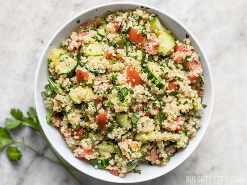 Close up shot of a bowl of Quinoa Tabbouleh