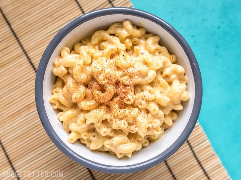 Bowl of Miracle Mac and Cheese ready to eat