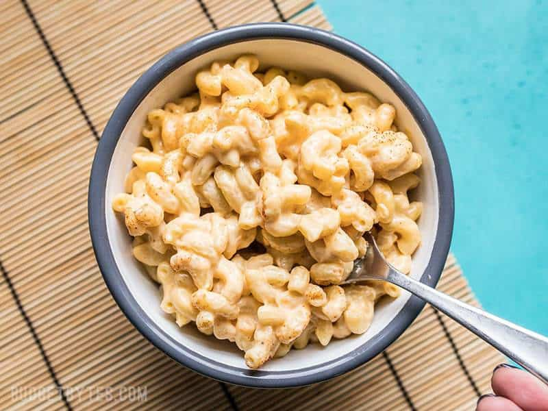 A forkful of rich and creamy Miracle Mac and Cheese