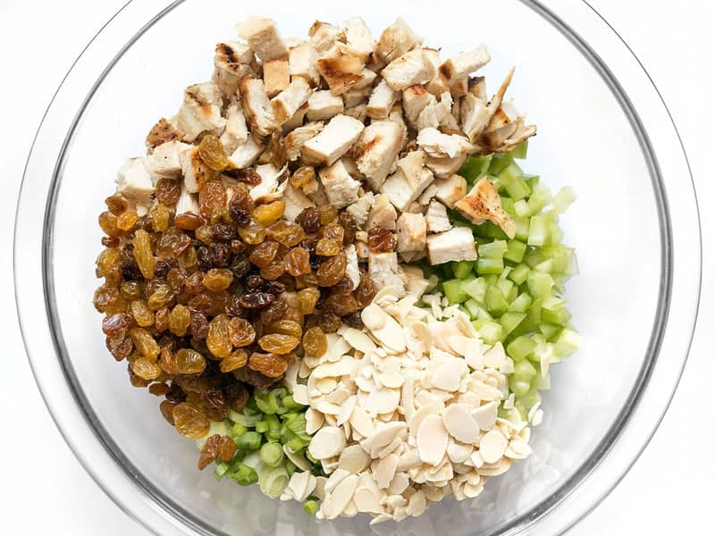 Curry Chicken Salad Ingredients in bowl
