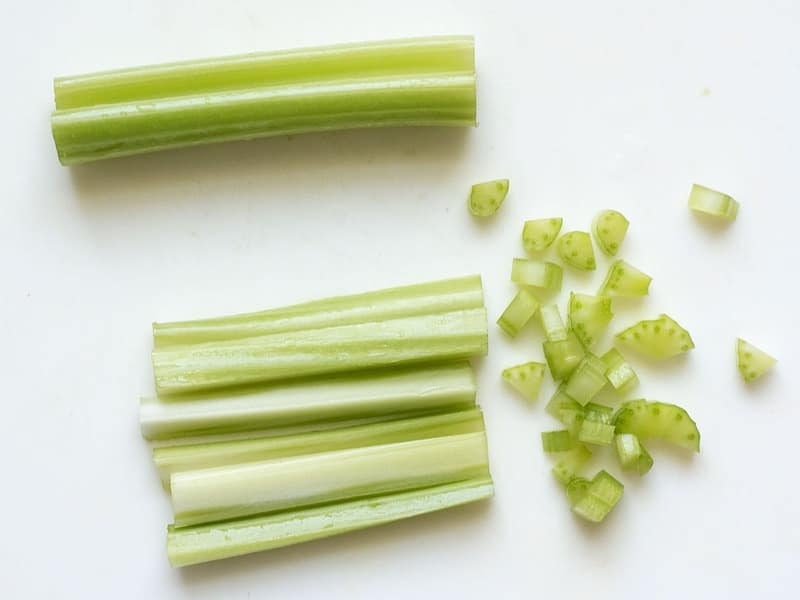 Dice Celery for Curry Chicken Salad