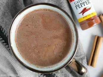 This Aztec cocoa is rich and warm with a touch of earthy cinnamon and a slight kick from cayenne pepper to heat you up inside and out BudgetBytes.com