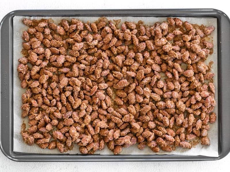 Baked Candied Almonds on baking sheet