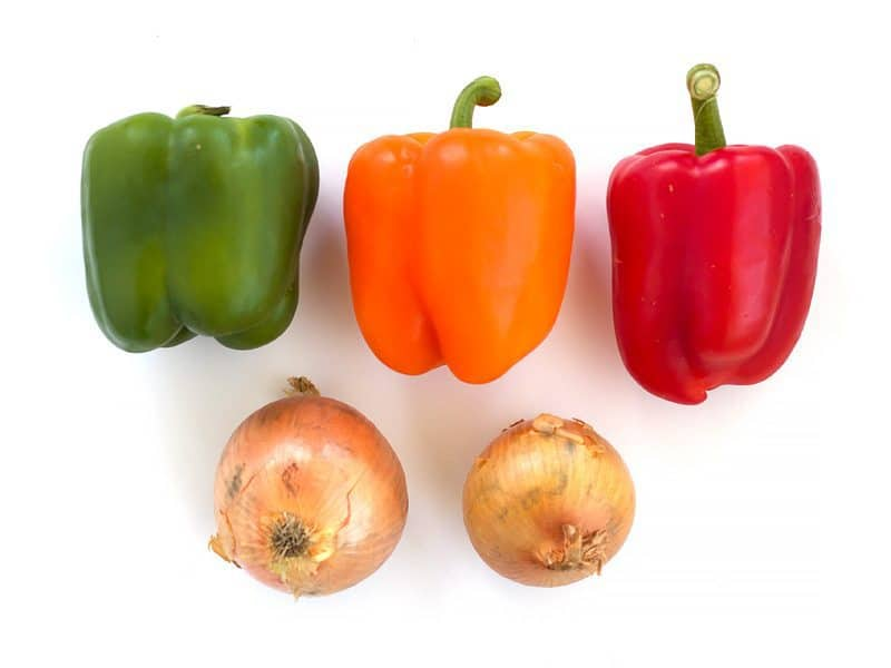Green, Red, and Orange Bell Peppers with Two Onions