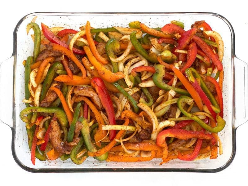 Seasoned Chicken and Vegetables for Easy Oven Fajitas Recipe
