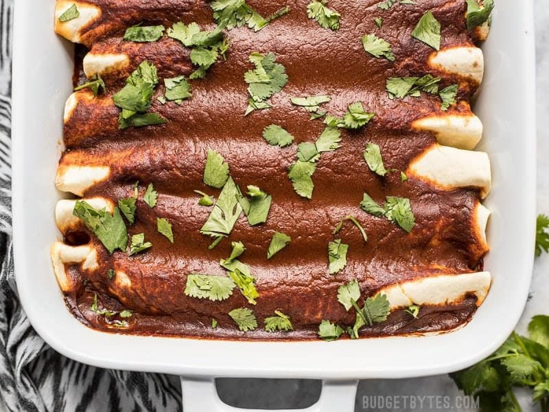 Close up overhead shot of baked vegan Black Bean and Avocado Enchiladas in the casserole dish
