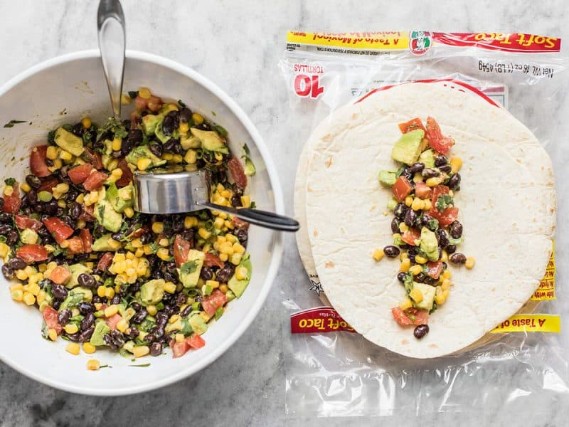 Fill tortillas with black bean and avocado mixture