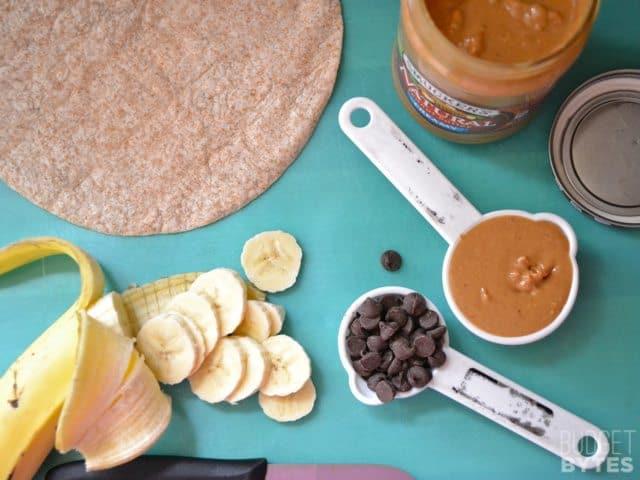 Top view of dessert quesadilla ingredients