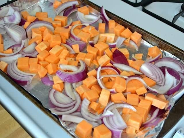 roast sweet potato onion