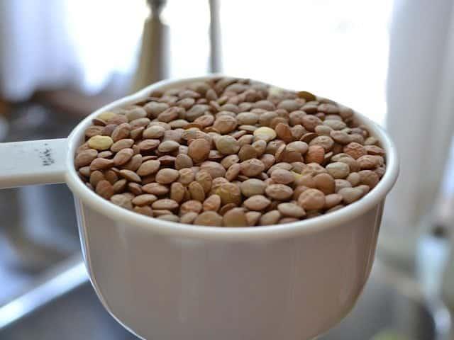 measuring cup of brown lentils