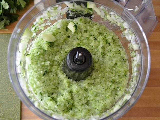 minced vegetables in food processor