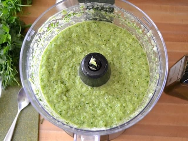 top view pureed soup in food processor