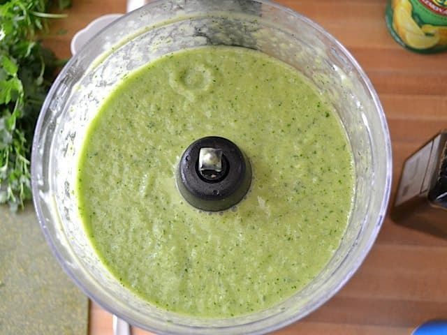 top view of finished green gazpacho in food processor