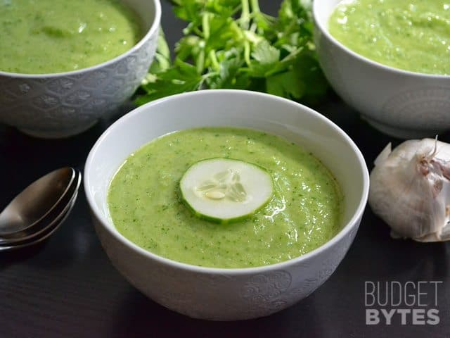 Bowl of Green Gazpacho with spoon on the side