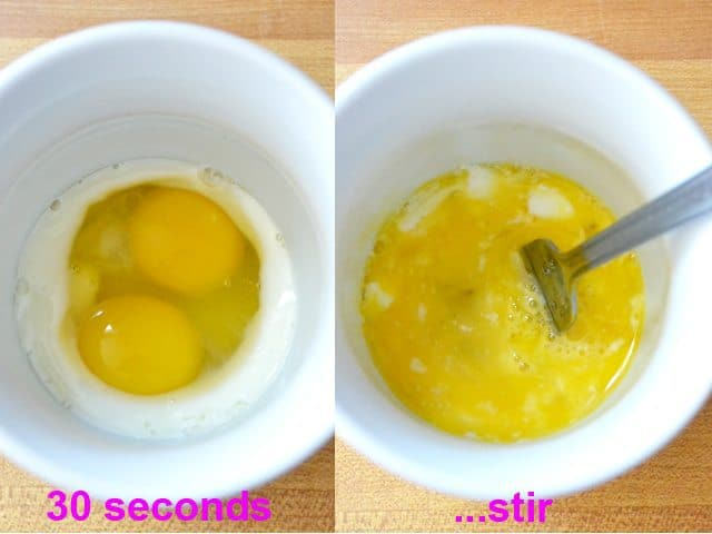 cook eggs for 30 seconds and then take out and stir