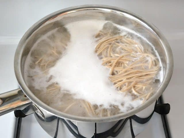 Noodles in a pot of boiling water