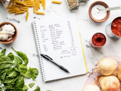 A notebook with a recipe cost calculation surrounded by various ingredients