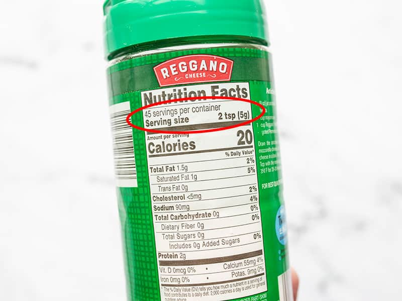 Parmesan bottle nutrition label