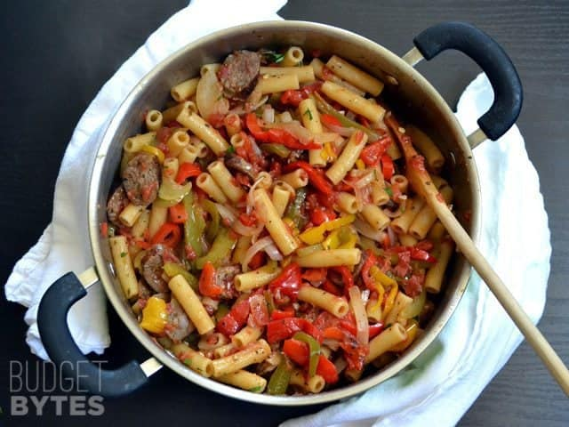 Top view of Sausage & Pepper Pasta in skillet
