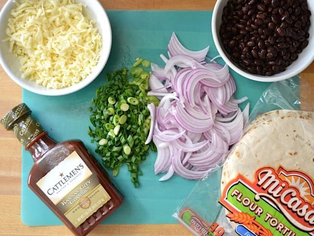 BBQ Black Bean Pizza ingredients on counter top