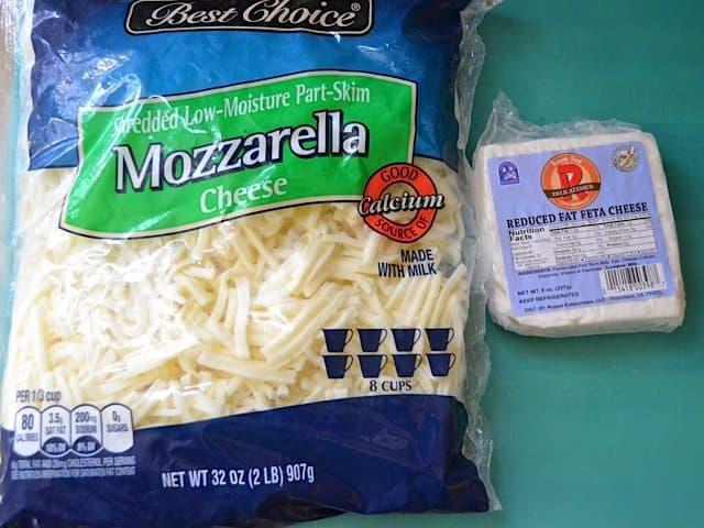 Bag of mozzarella cheese and feta cheese
