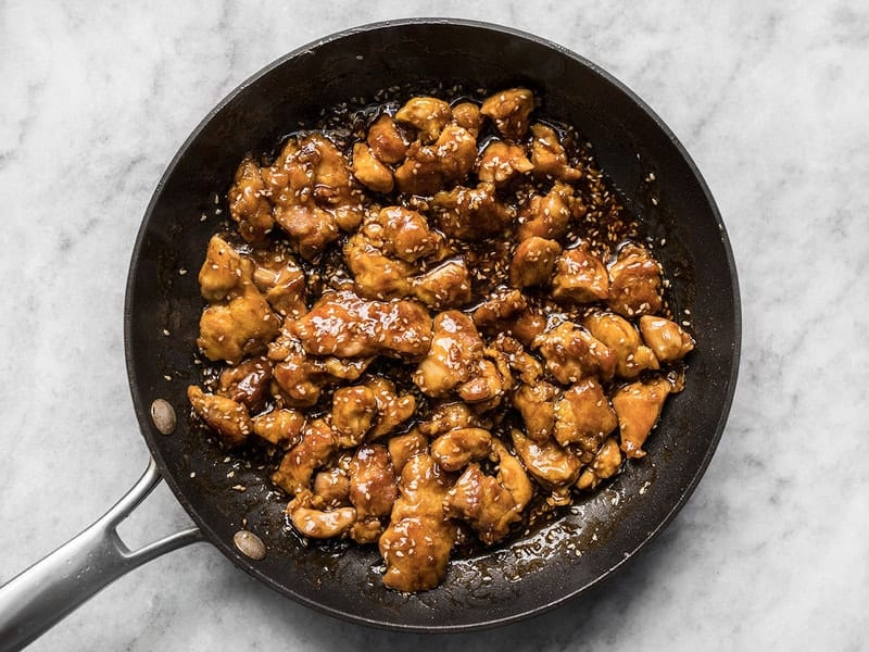 Sesame Sauce Added to Chicken