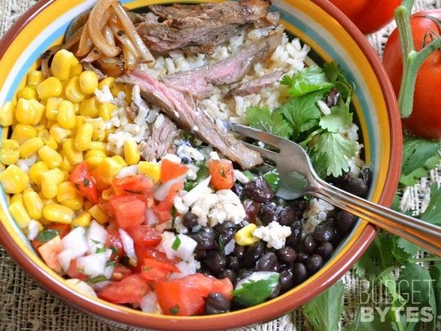 Fork in bowl of Southwest Steak Bowl