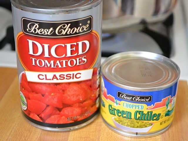 Can of diced Tomatoes & can of green Chiles