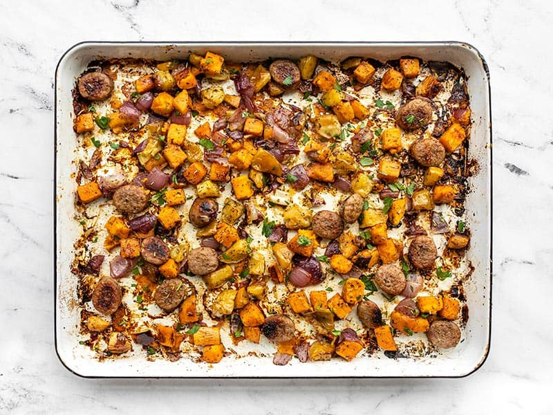 Finished oven roasted autumn medley on the sheet pan