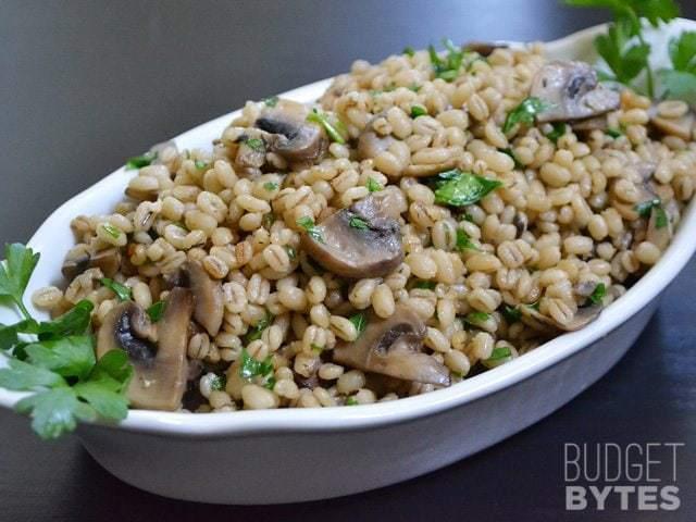 Dish of Baked Barley with Mushrooms