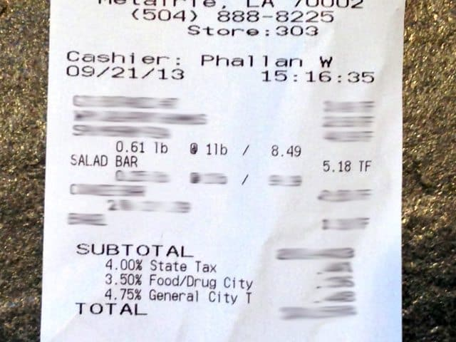 Receipt of what was purchased at salad bar