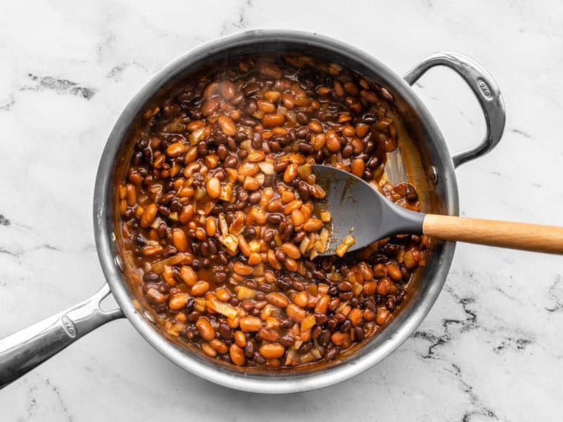 Heated BBQ Bean mixture in the skillet