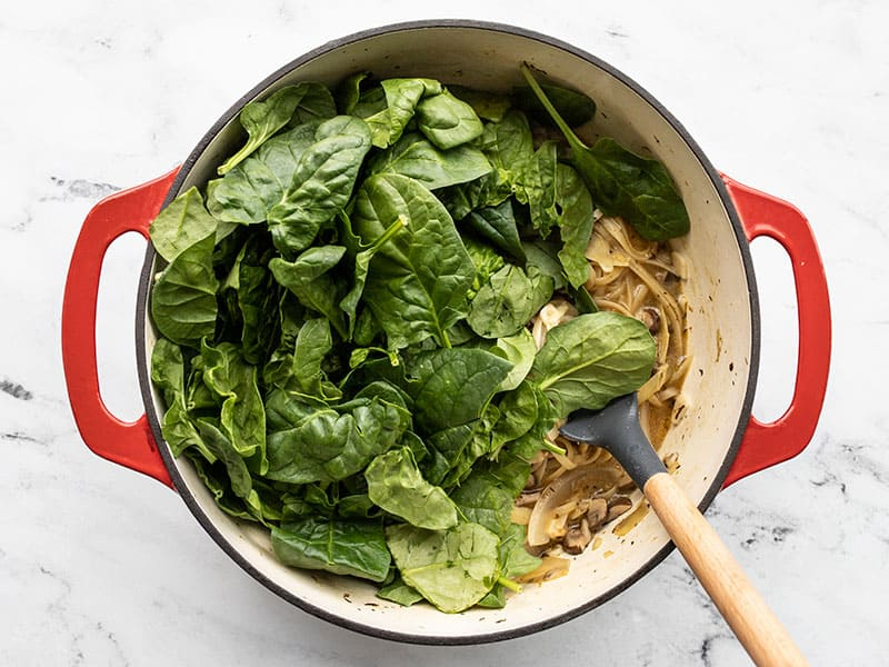 Fresh spinach added to the one pot pasta