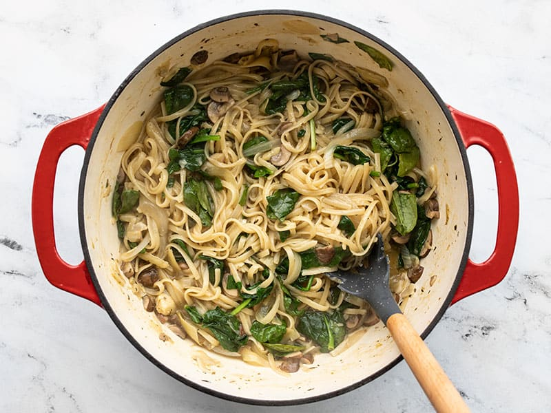 Finished spinach and artichoke one pot pasta