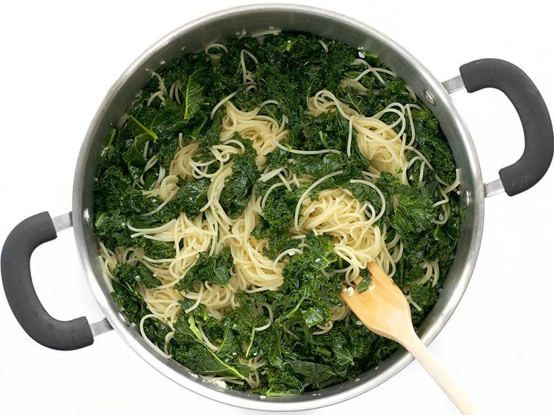 Add Cooked Pasta to Kale