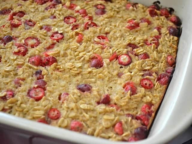 Close up of Baked Oatmeal in dish