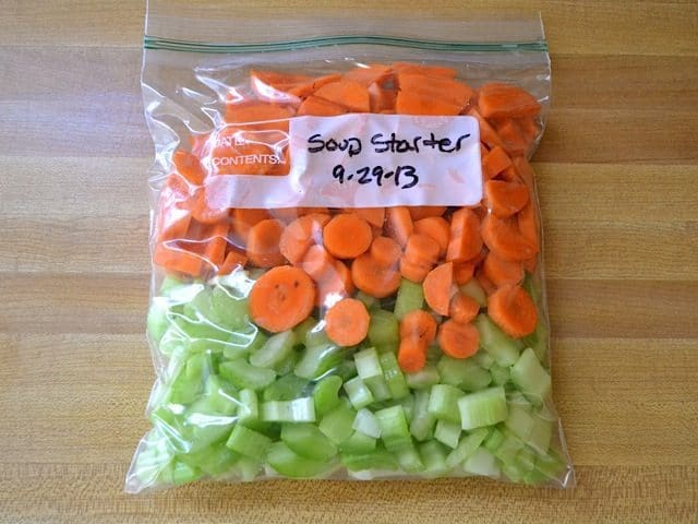 "Chopped veggies in zip lock bag to save for later as ""soup starter"""