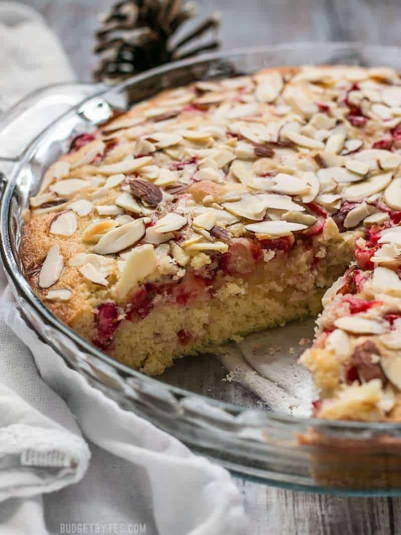 This Cranberry Almond Cake is super fast to prepare and the perfect festive dessert for the holiday season. BudgetBytes.com