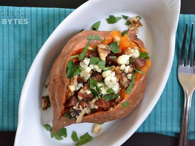 Date & Gorgonzola Stuffed Sweet Potatoes