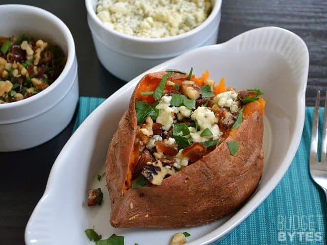 Date & Gorgonzola Stuffed Sweet Potato