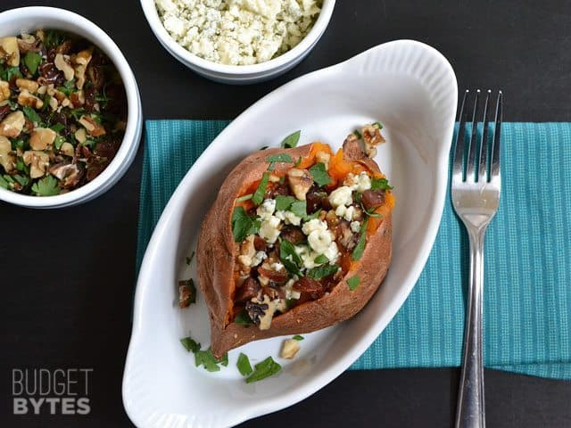 Date & Gorgonzola Stuffed Sweet Potato