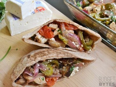 Oven Roasted Greek Stuffed Pitas