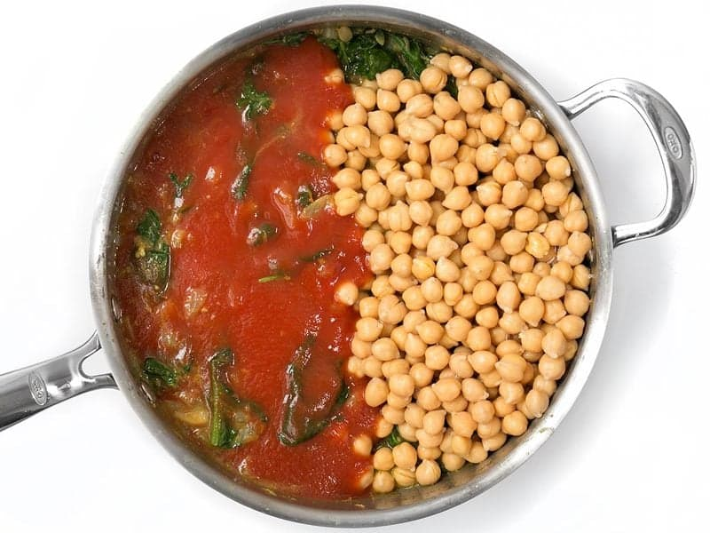 Add Chickpeas and Tomato Sauce