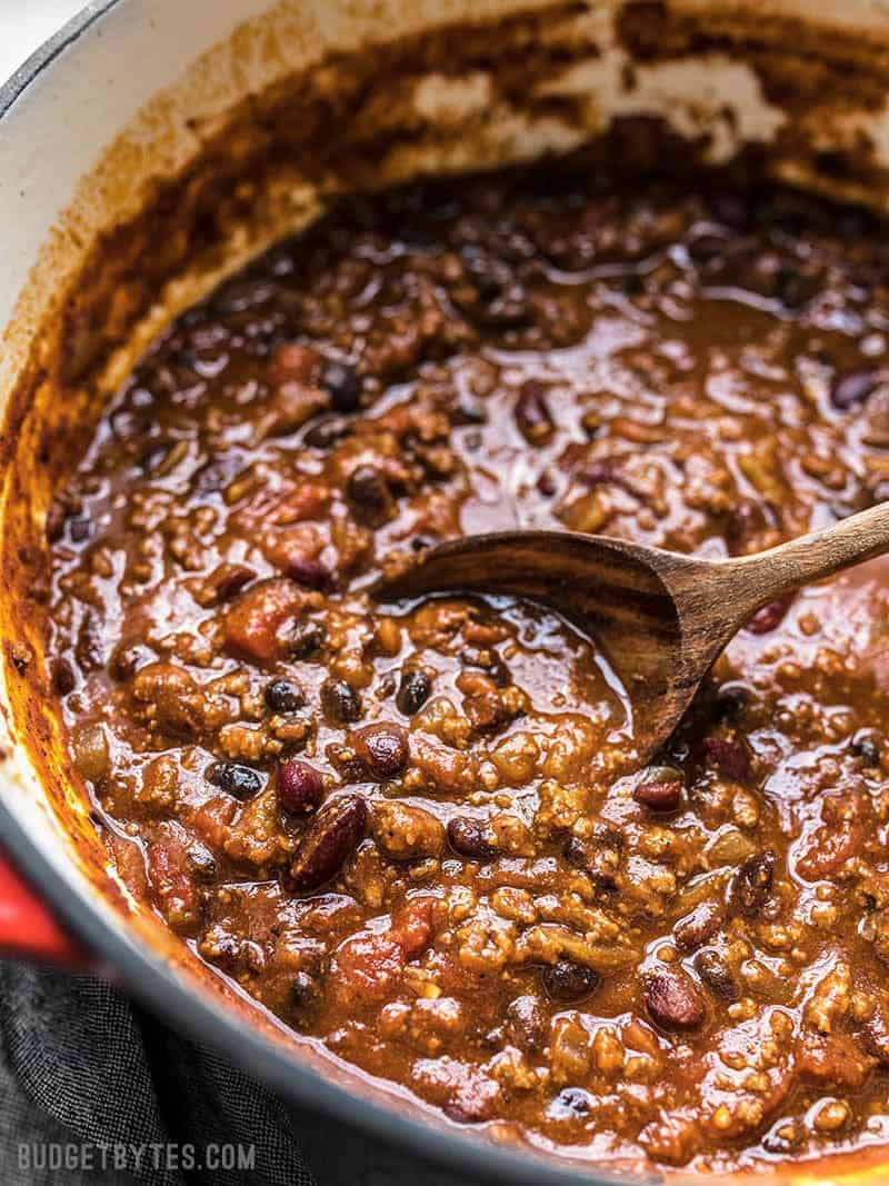 Close up of a pot of Basic Chili