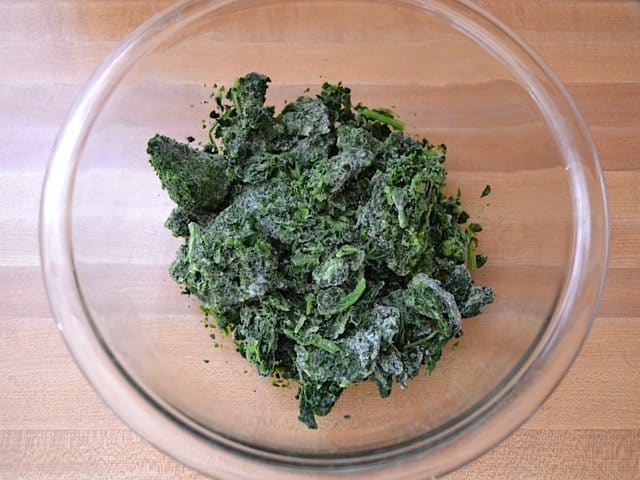 Frozen Spinach in mixing bowl