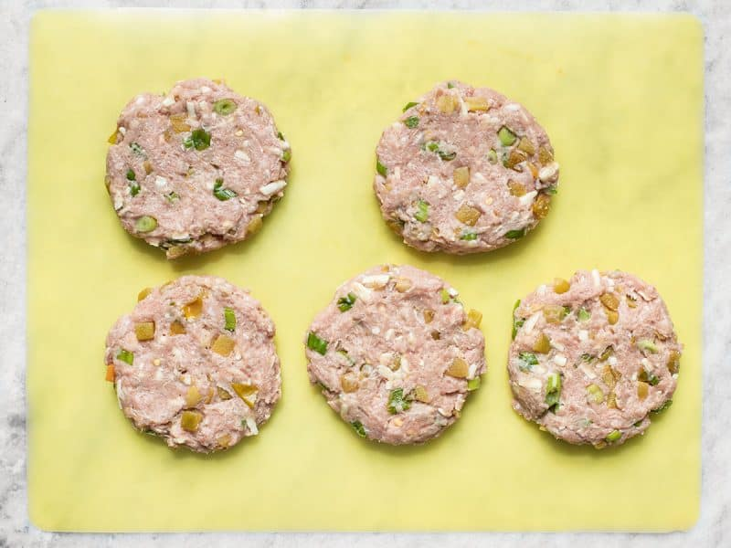 Green Chile Turkey Burgers shaped