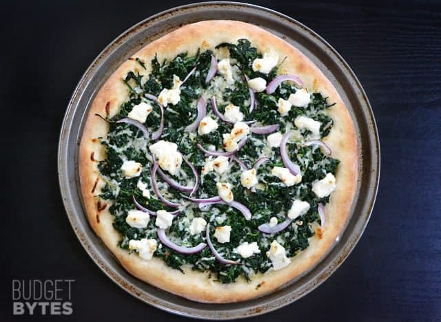 Top view of a baked Easy White Spinach Pizza