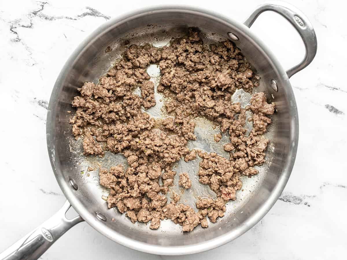 browned ground beef in the skillet